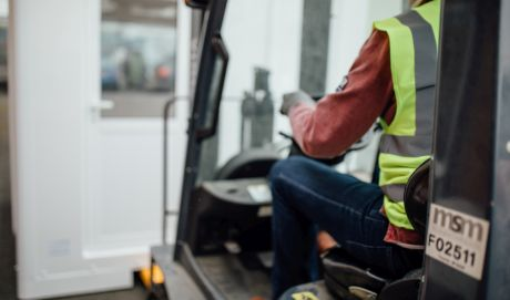 operative driving a uk kiosks forklift