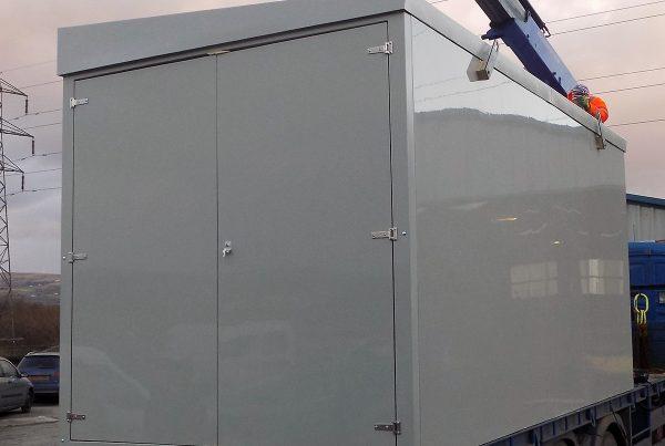 double door grp enclosure grey