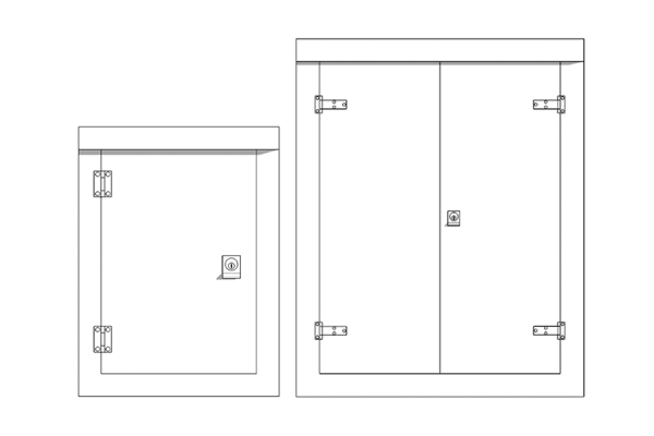 A drawing of single door and double door cabinets