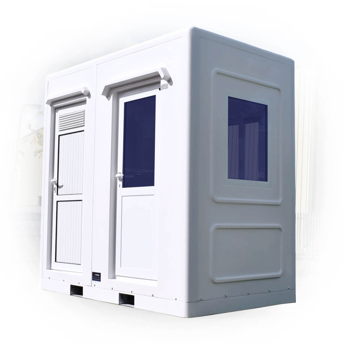 background image of a small white welfare unit kiosk with two doors