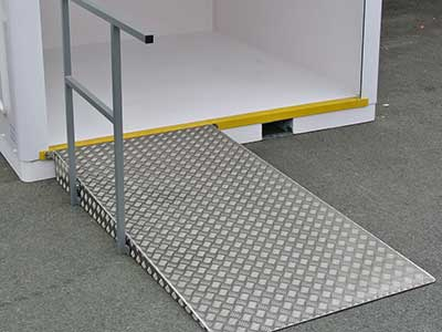 accessibility ramp in stainless steel