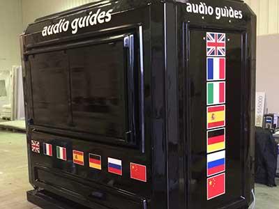 black kiosk with vinyl graphics