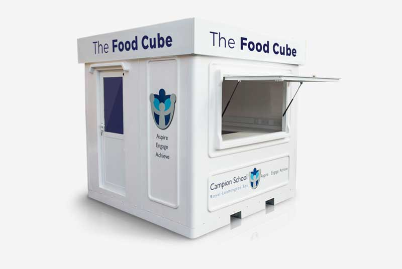 catering kiosks with a lift up shutter and sign writing