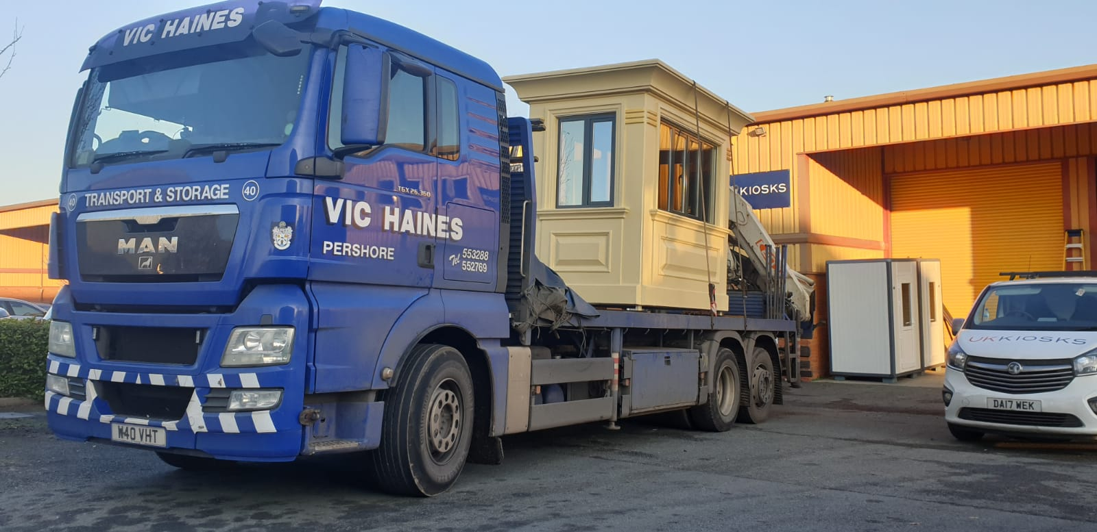 cabin on the back of a hiab lorry