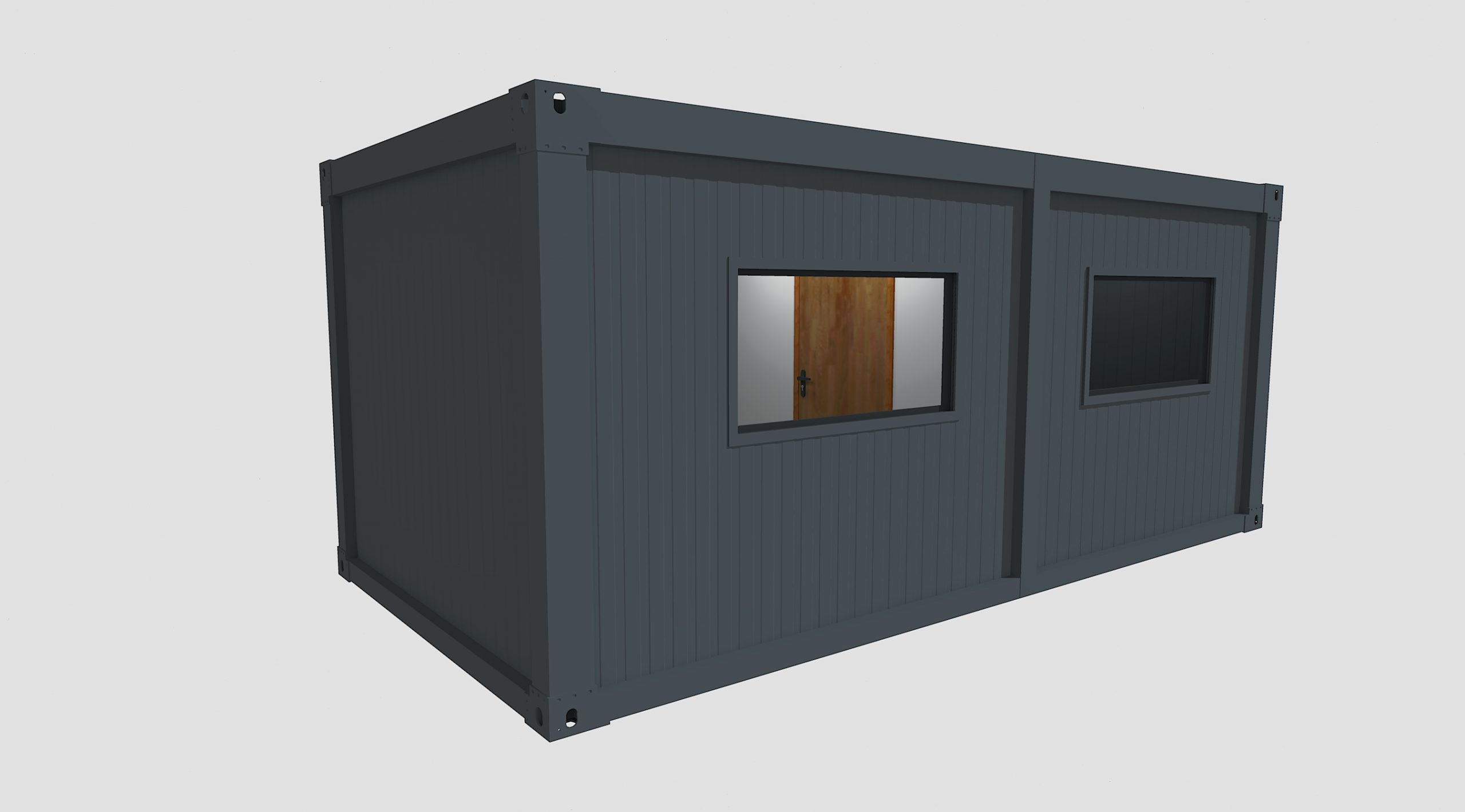3D mock up of grey steel security cabin with two windows