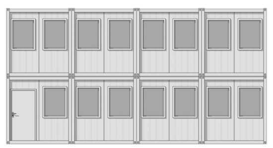 grey and white modular building in digital mockup