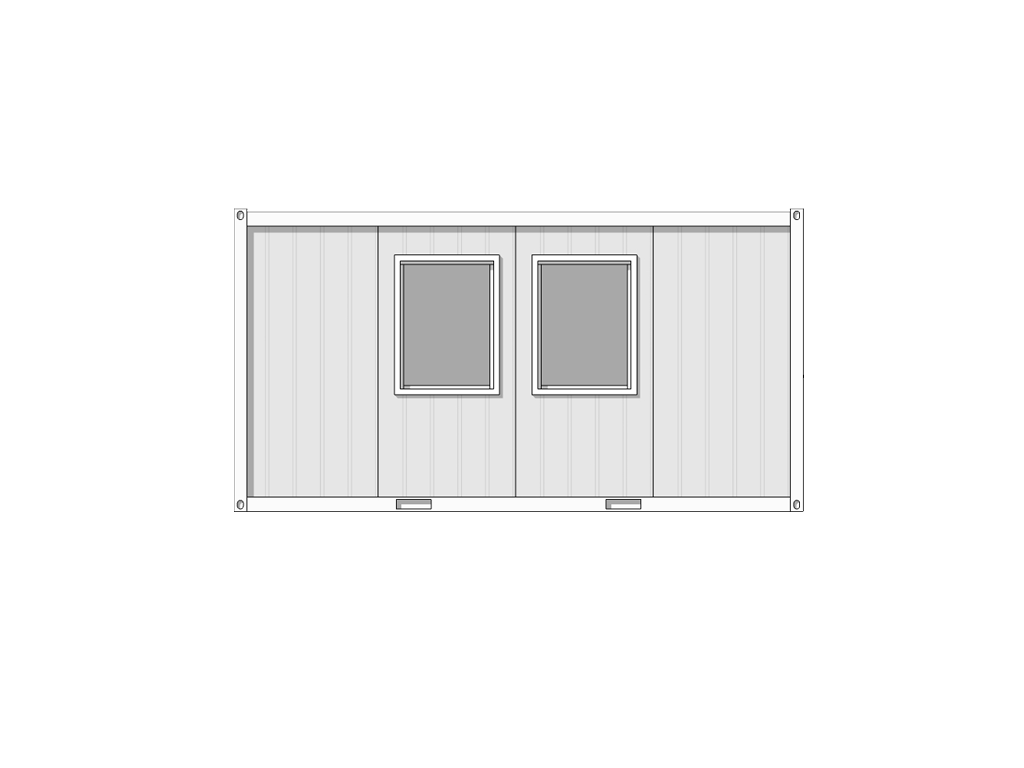see through line drawing of 5m x 2.44m hastings cabin