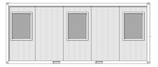grey and white 6m x 2.44m ticket office