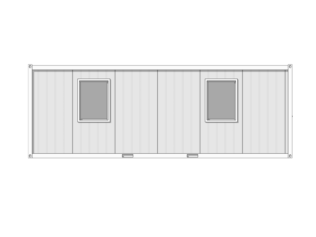 see through line drawing of 7m x 2.44m hastings cabin
