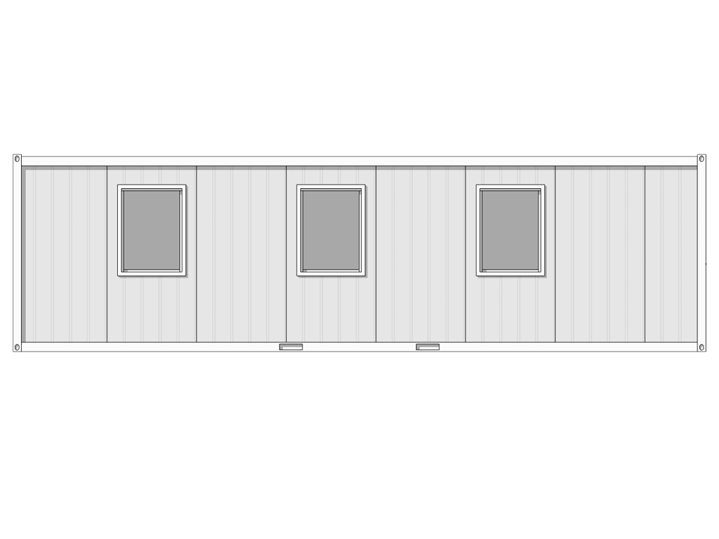 see through line drawing of 9m x 2.44m hastings cabin