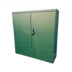 green cabinet with two double doors on a white background
