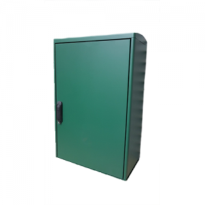 green box with single door on a white background